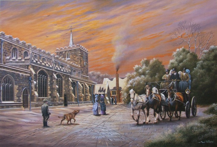 Painting of St Mary's Church by David Waller